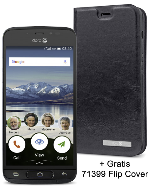 Doro 8040 Black + Cradle (+ gratis flip cover)